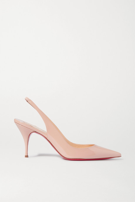 Neutral Clare 80 patent-leather slingback pumps  | Christian Louboutin 8yeMle