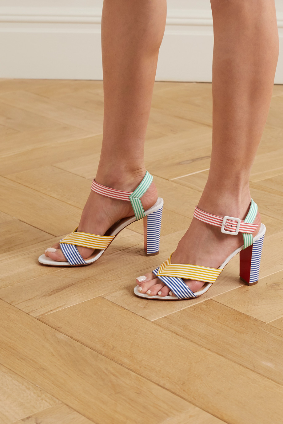 Christian Louboutin Palavas 85 striped patent-leather sandals