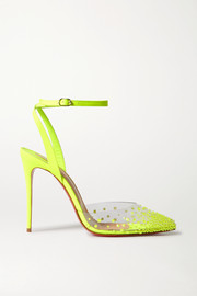 Christian Louboutin Spikaqueen 100 neon crystal-embellished PVC and leather pumps