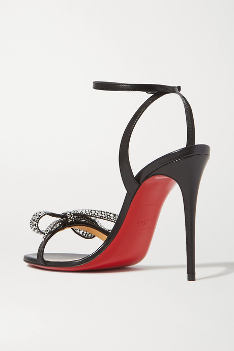 Black Jewel Queen 100 crystal-embellished bow-detailed glossed-leather sandals   Christian Louboutin jHtLh0