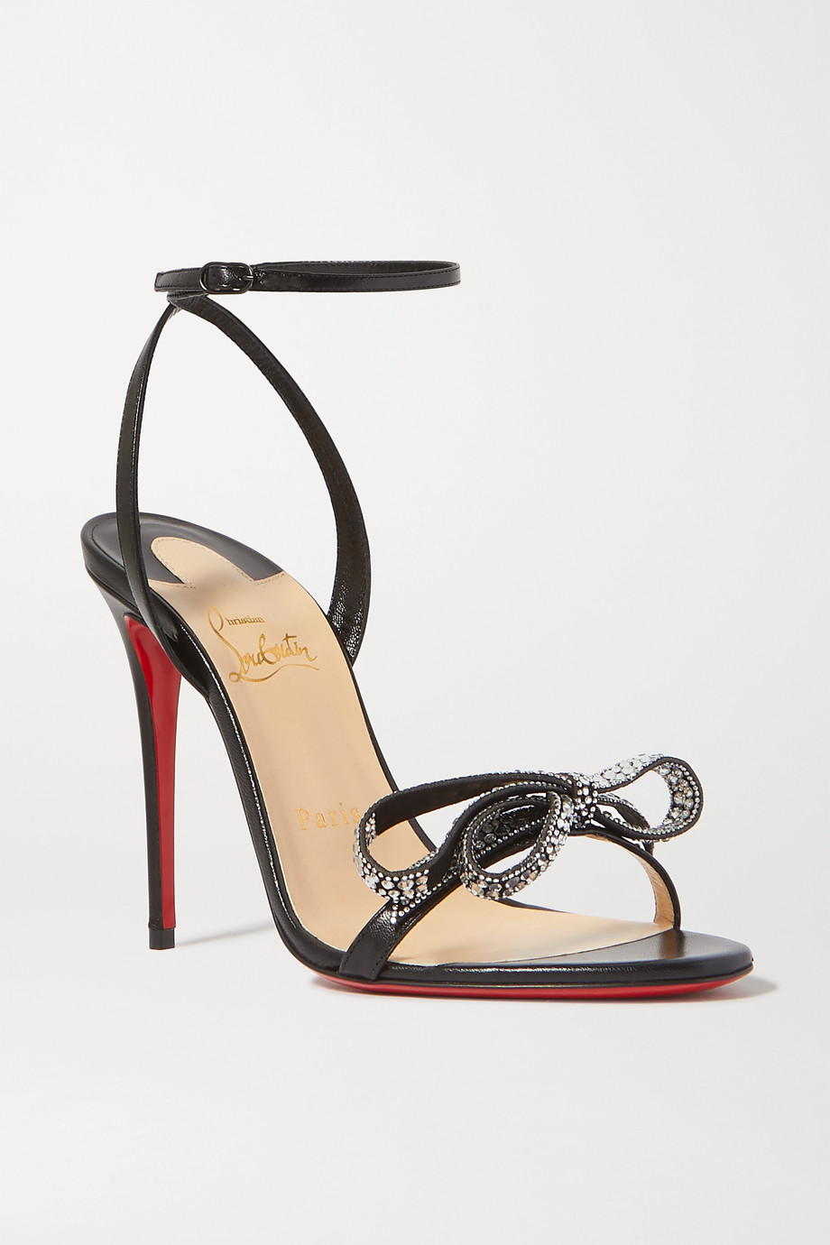 Christian Louboutin Jewel Queen 100 crystal-embellished bow-detailed glossed-leather sandals