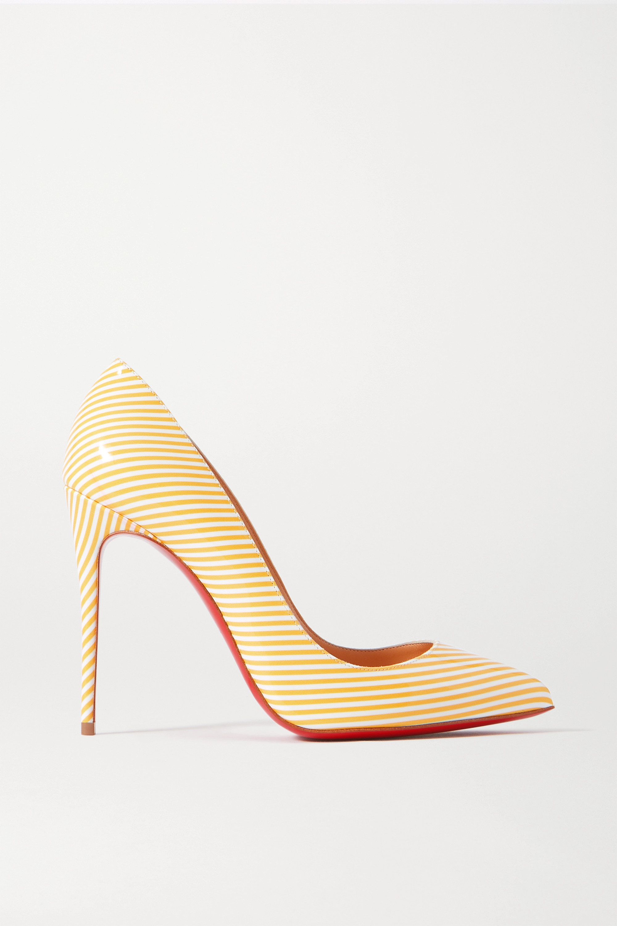 Christian Louboutin Pigalle Follies 100 striped patent-leather pumps