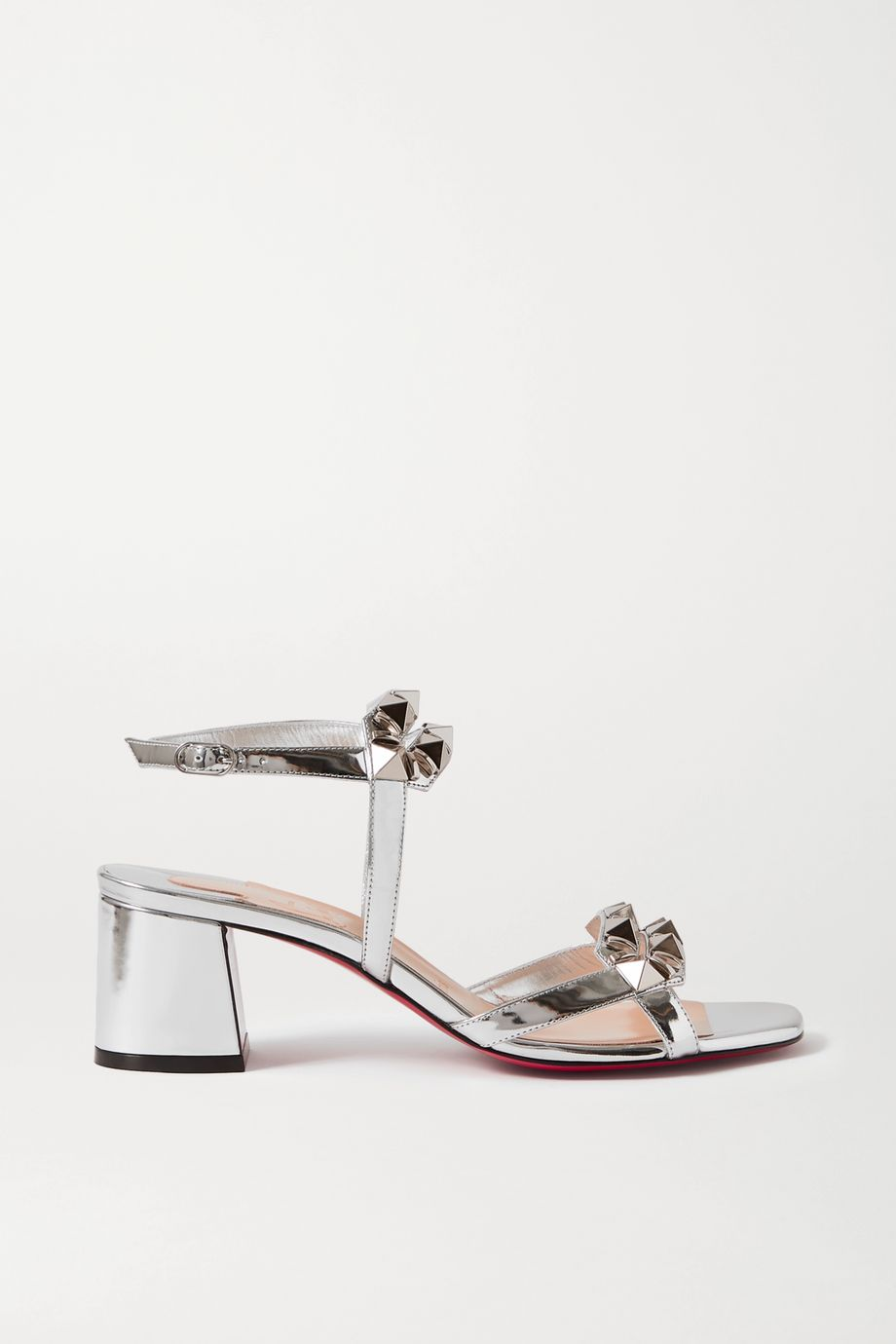 Christian Louboutin Galerietta 55 studded mirrored-leather sandals