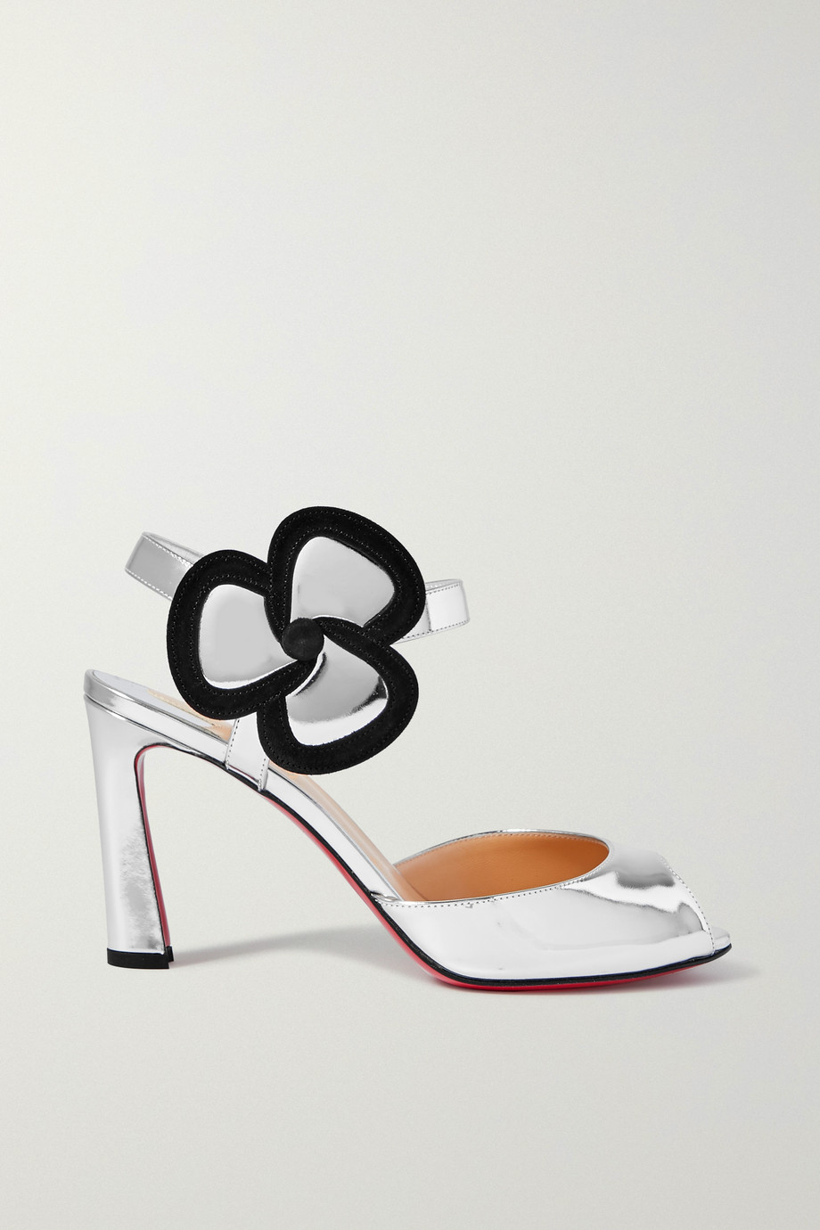 Christian Louboutin Pansy 85 suede-trimmed metallic leather sandals