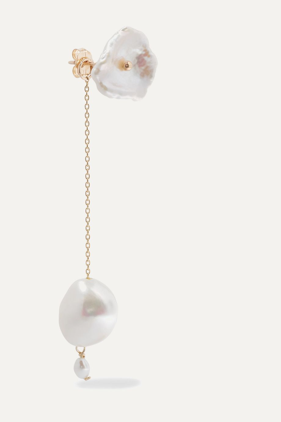 Poppy Finch Gold pearl earrings