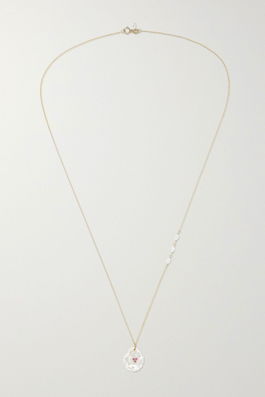 Poppy Finch 14-karat gold, pearl and ruby necklace