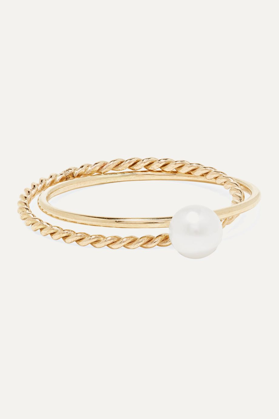 Poppy Finch Crisscross 14-karat gold pearl ring