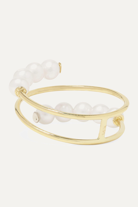 Poppy Finch Double Baby 14-karat gold pearl ring