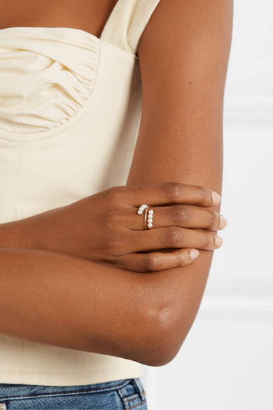 Double Baby 14 Karat Gold Pearl Ring by Poppy Finch