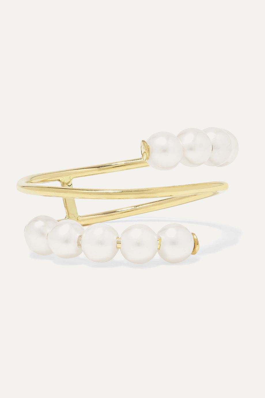 Poppy Finch Double Baby 14-karat gold pearl ring