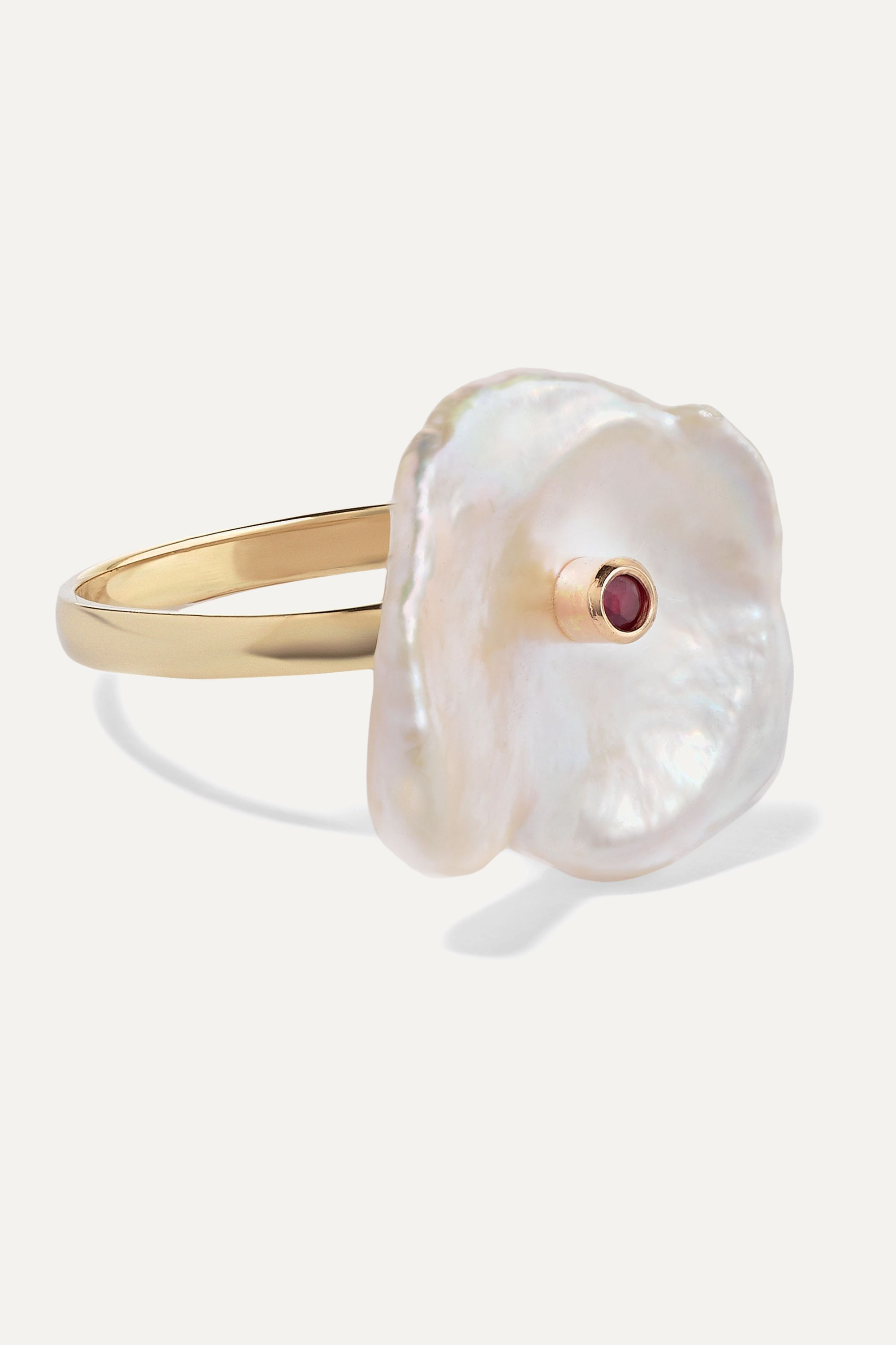 Poppy Finch Gold, pearl and ruby ring