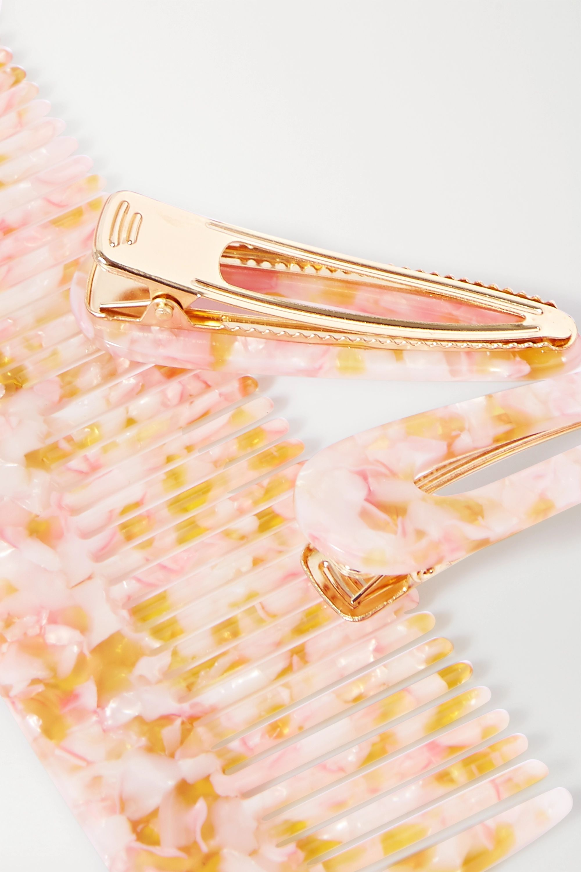 Valet Willa and Kelly marbled resin comb and hair clips set