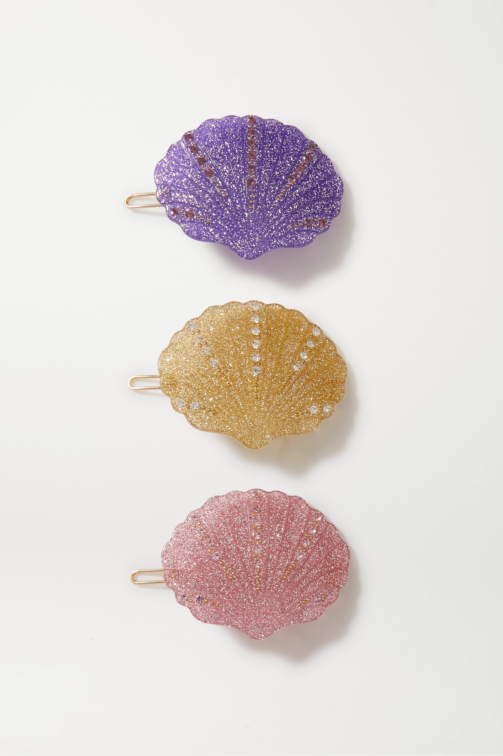 Valet Kiki set of three crystal-embellished glittered resin hair clips