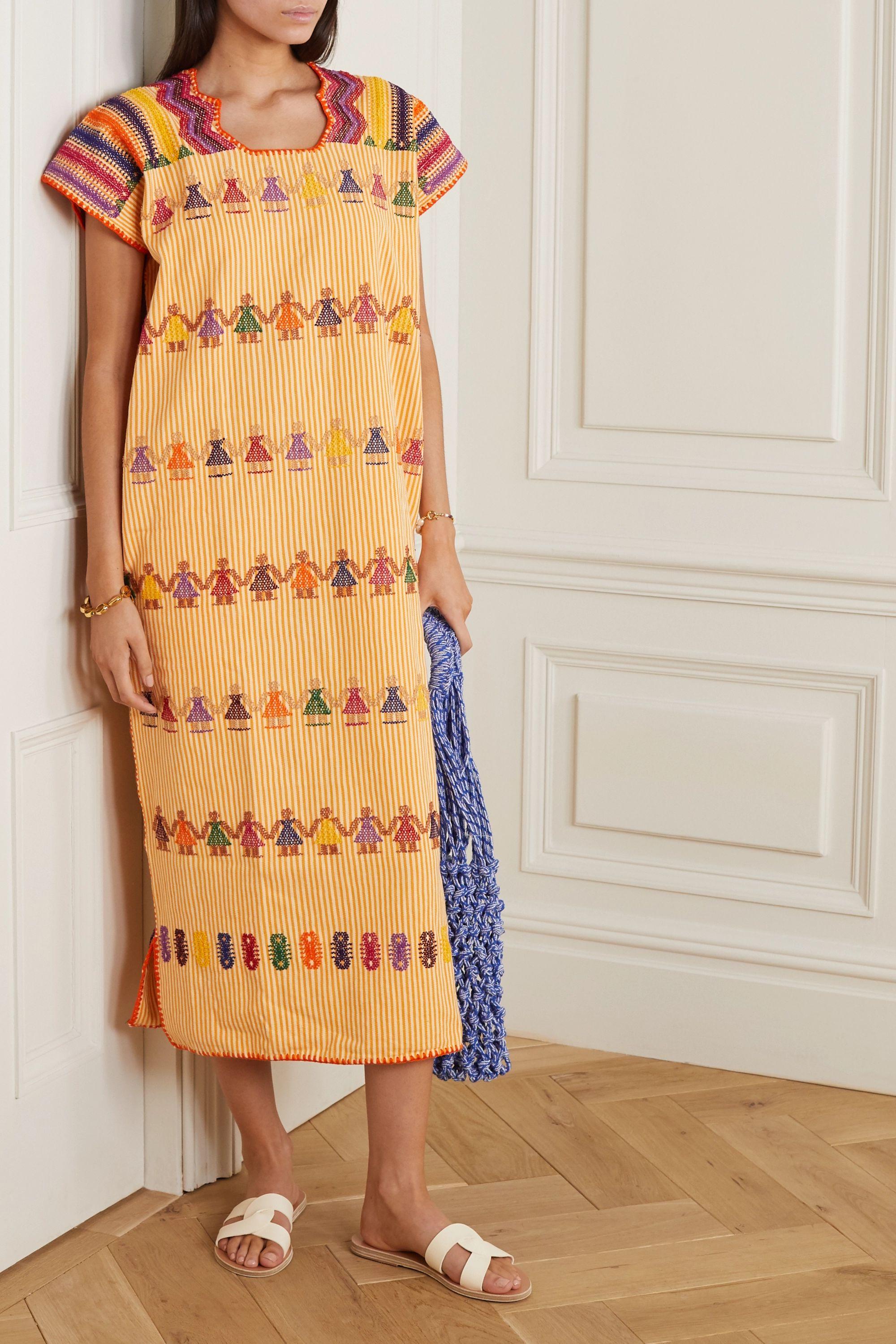 Pippa Holt + NET SUSTAIN embroidered striped cotton kaftan