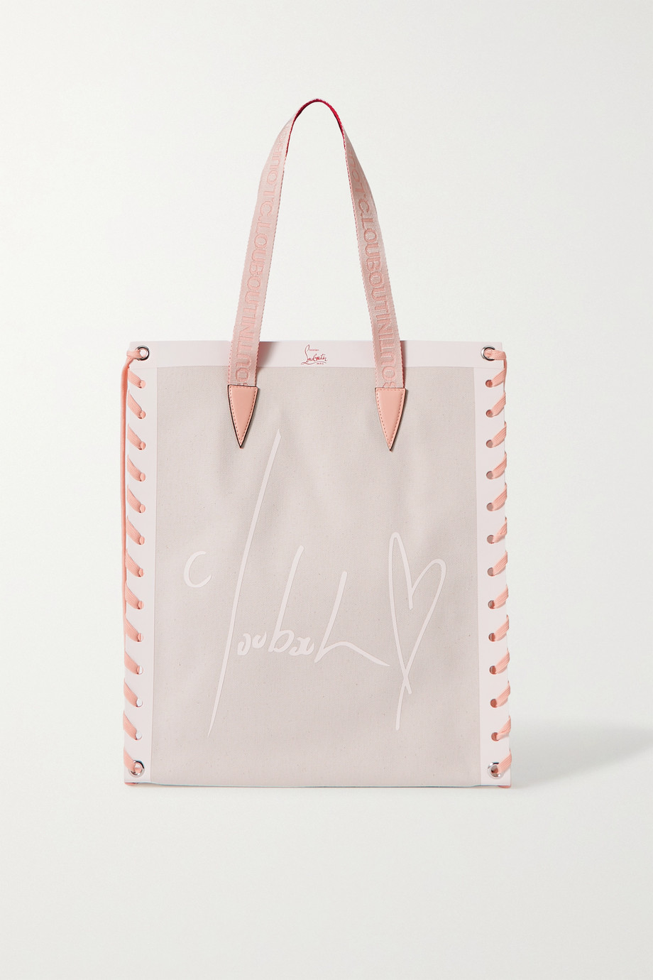 Christian Louboutin Cabalace small lace-up leather-trimmed printed canvas tote