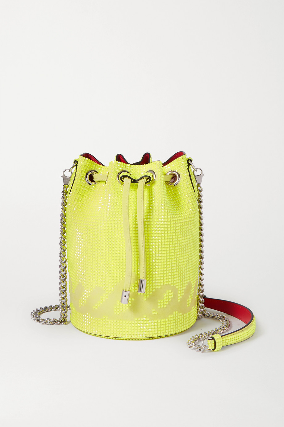 Christian Louboutin Marie Jane neon crystal-embellished suede bucket bag