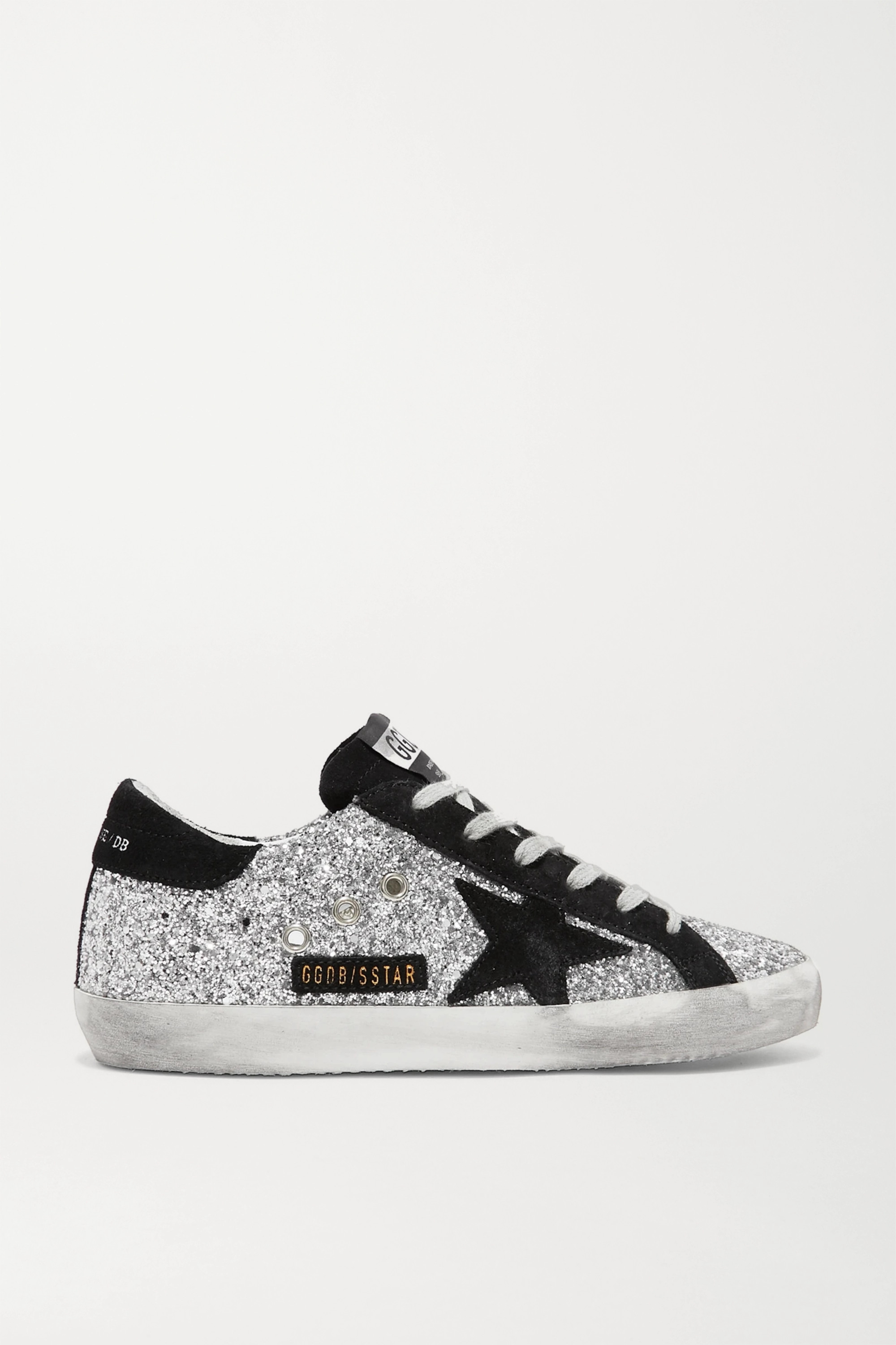 Golden Goose Baskets en cuir à paillettes et en daim Superstar