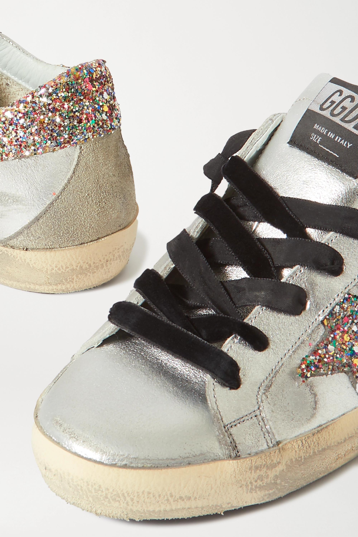 Golden Goose Superstar distressed glittered metallic leather sneakers