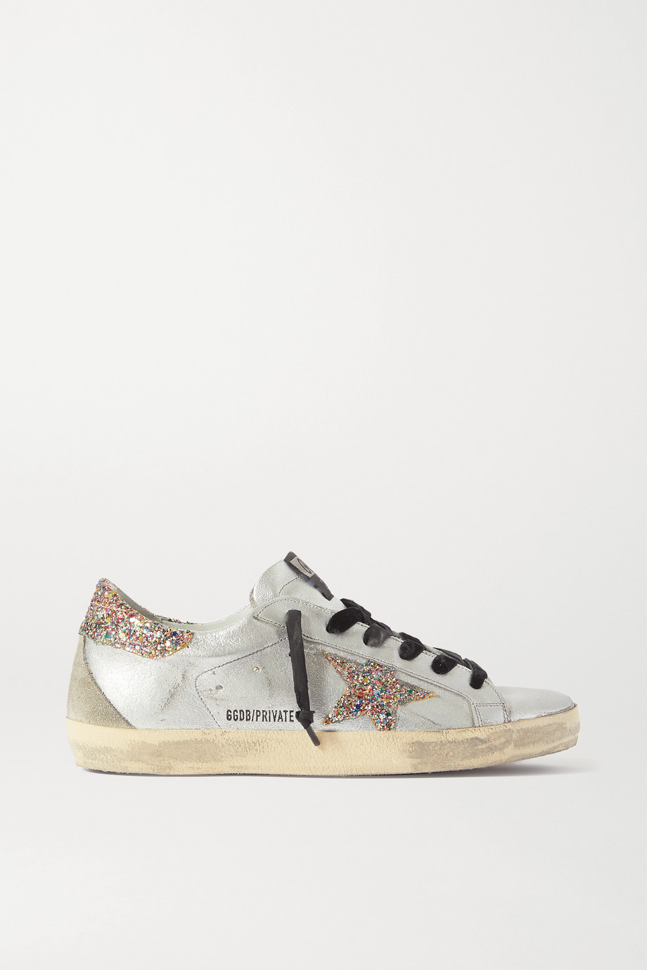 Golden Goose Superstar distressed glittered metallic leather sneakers