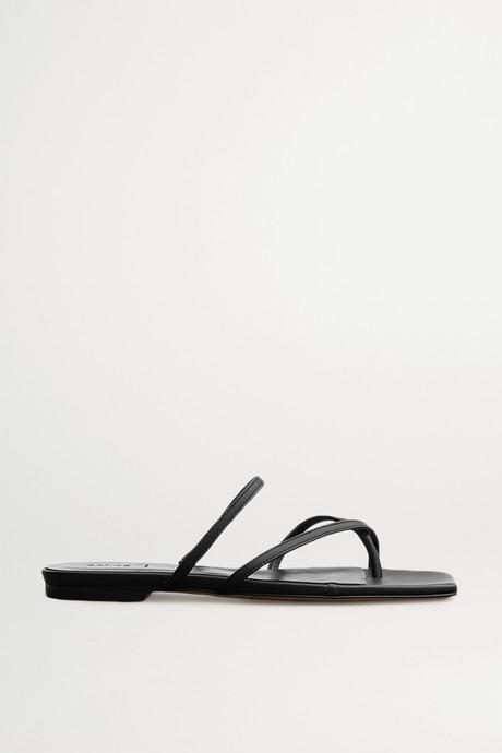 Black Marina leather slides | aeydē. JsKfEJ