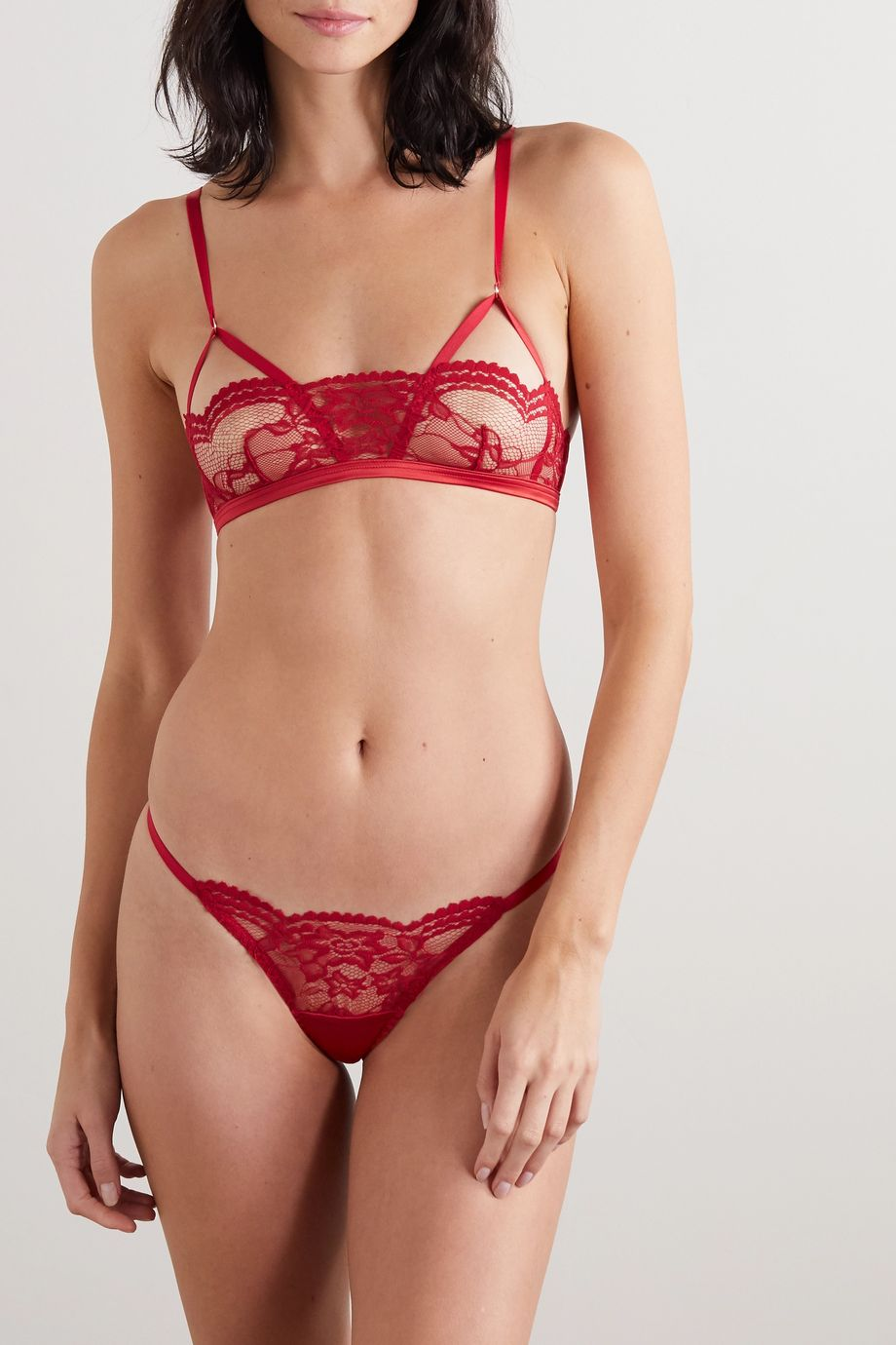 Coco de Mer Muse Scarlett lace and stretch-satin thong