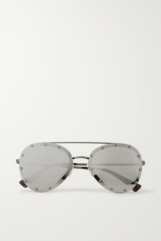 Gunmetal Valentino Garavani Aviator Style Crystal Embellished Silver Tone Mirrored Sunglasses Valentino Net A Porter