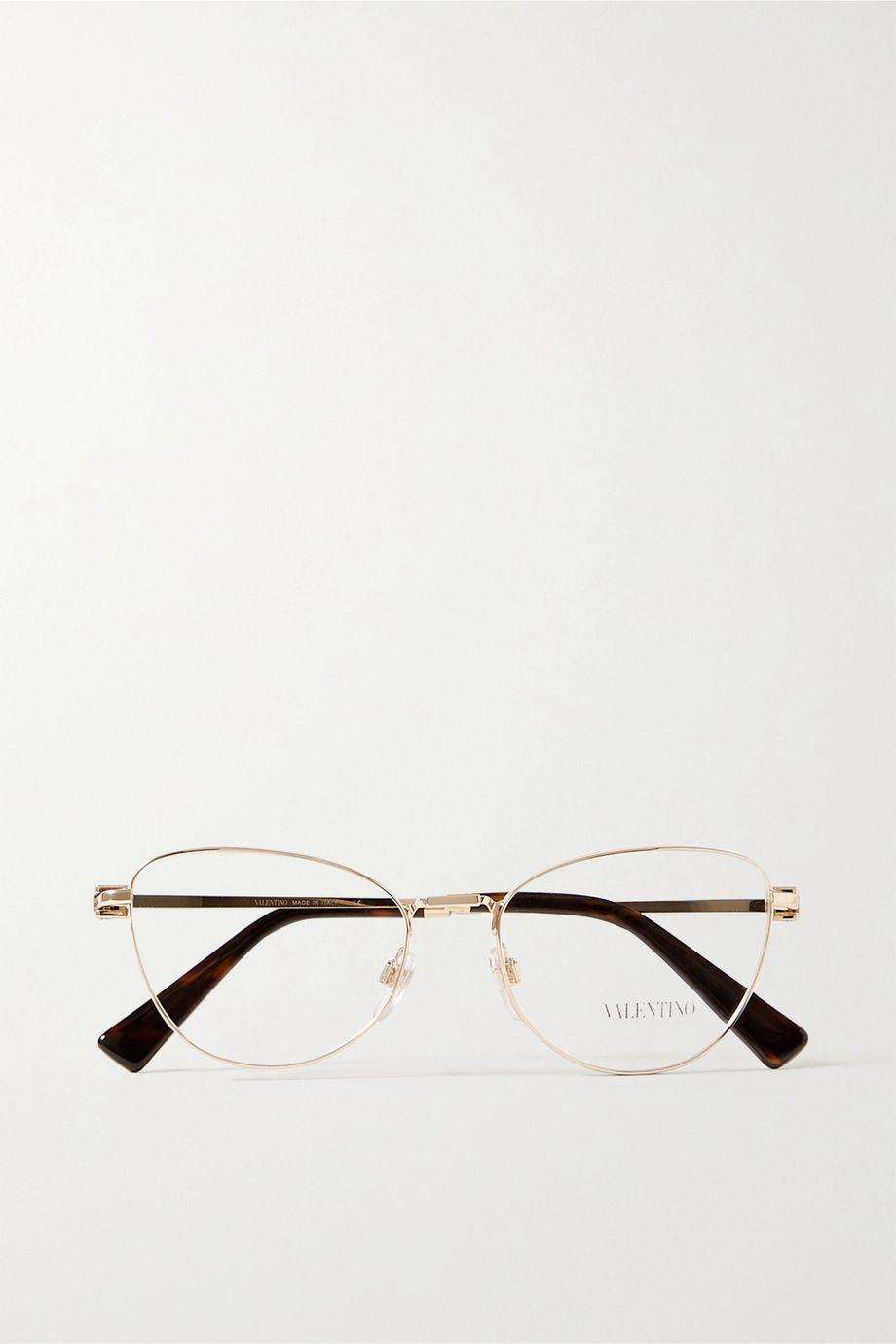 Valentino Valentino Garavani cat-eye gold-tone and tortoiseshell acetate optical glasses