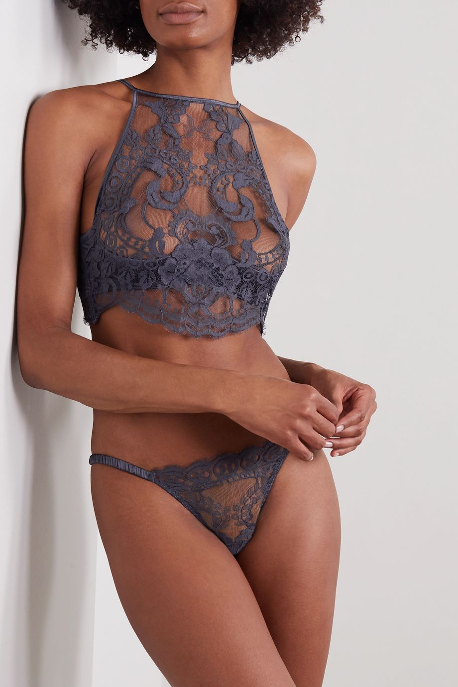 Coco de Mer Paradiseus lace and satin underwired bra