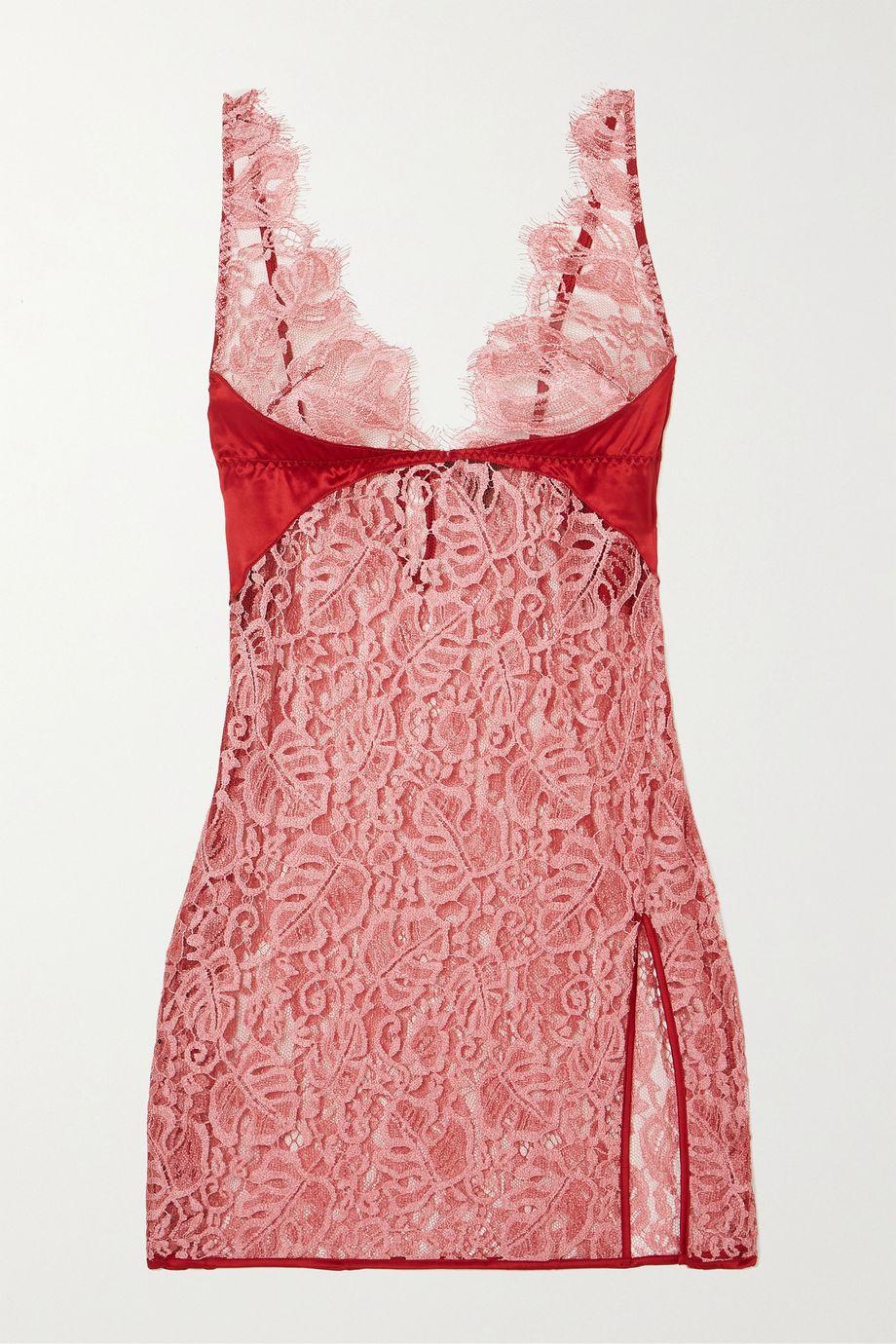 Coco de Mer Anthurium lace and satin camisole