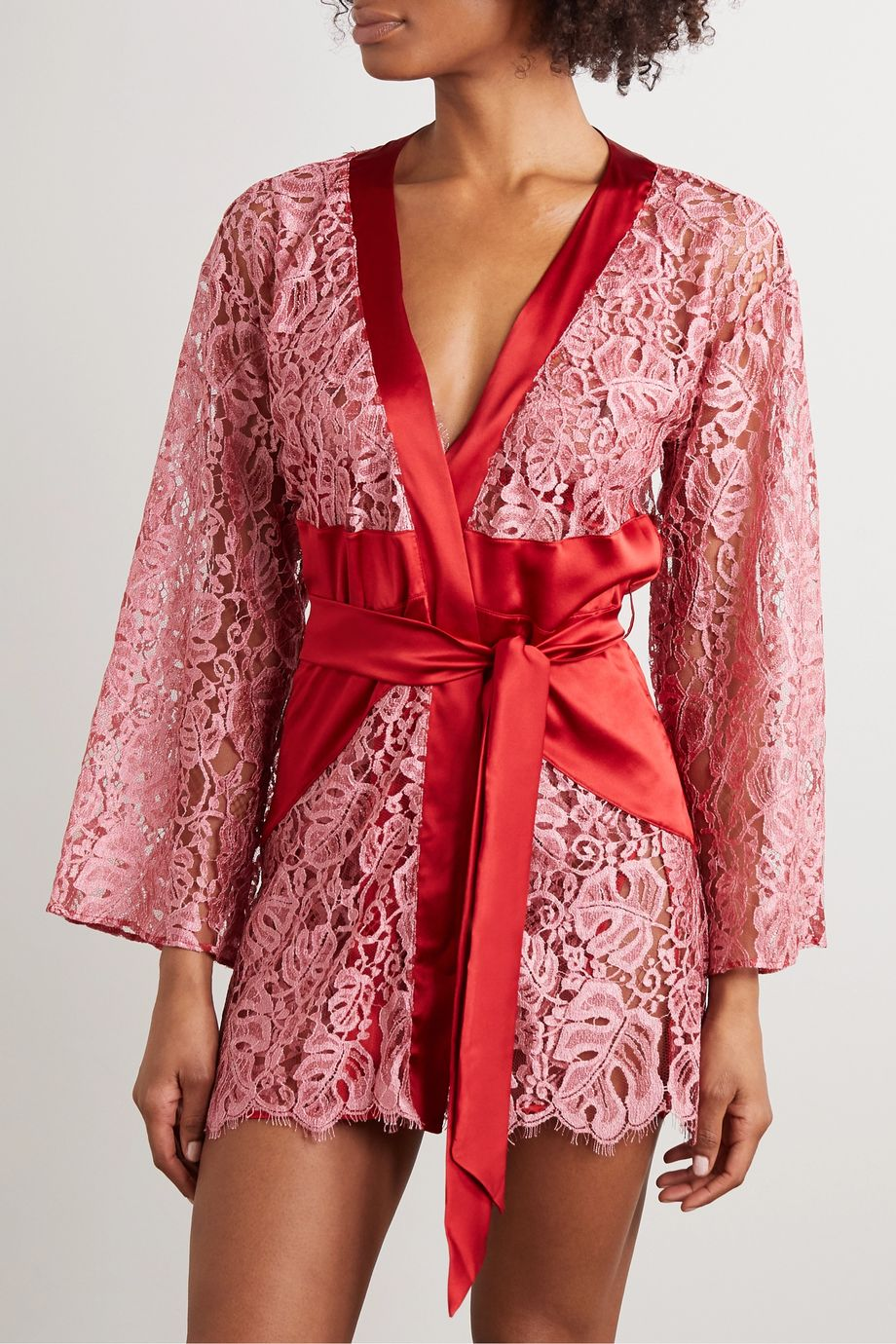 Coco de Mer Anthurium belted lace and satin robe