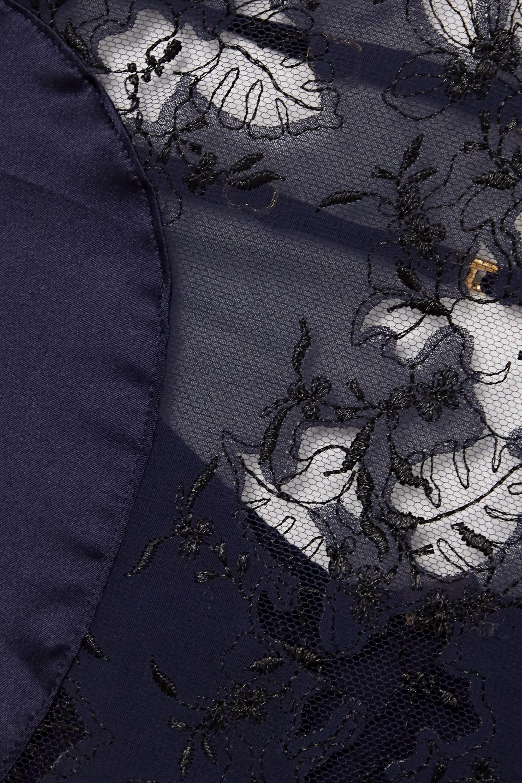 Coco de Mer Caerulea cutout lace and silk-blend satin bodysuit