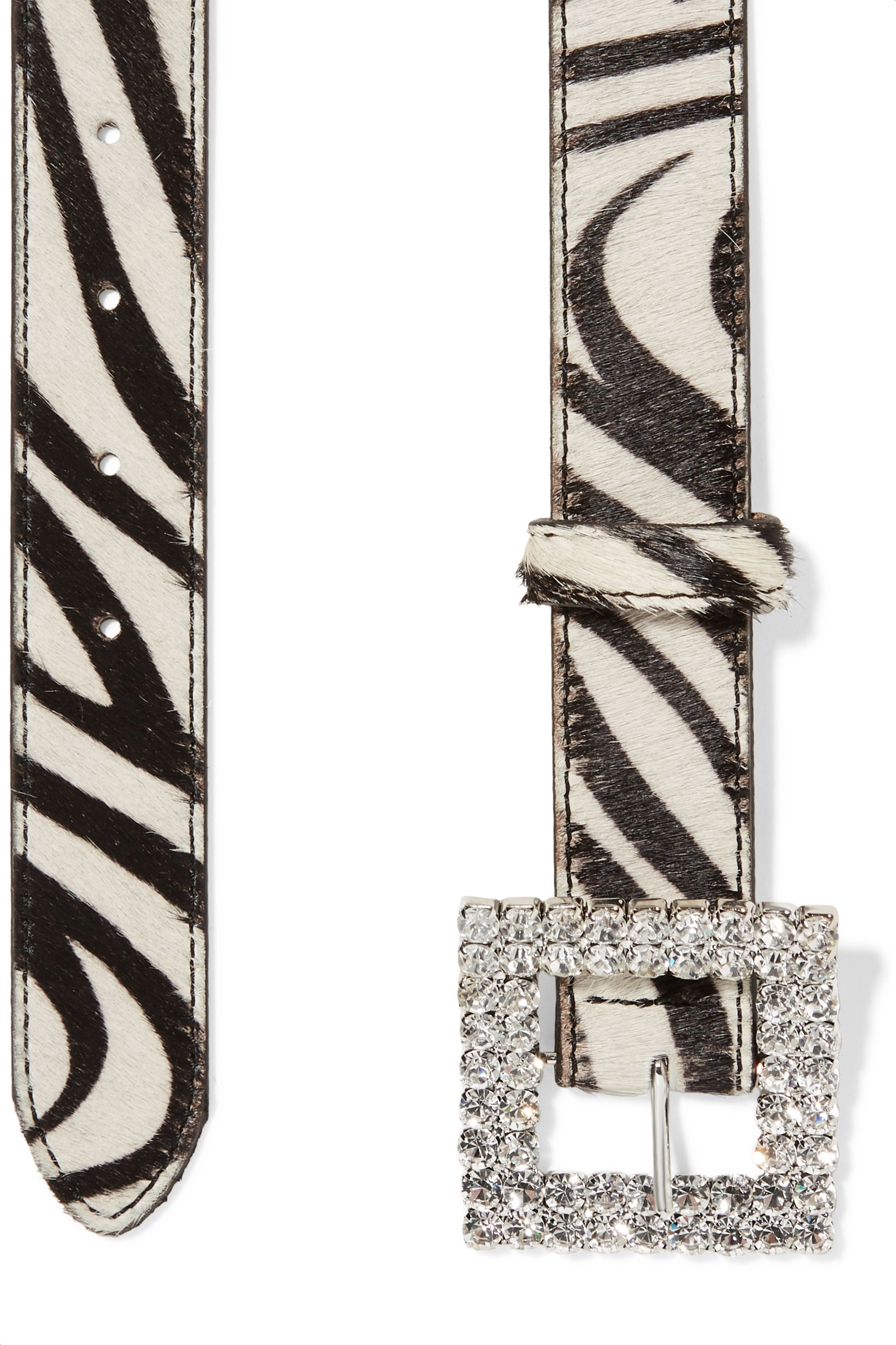 Black & Brown Crystal-embellished zebra-print calf hair belt