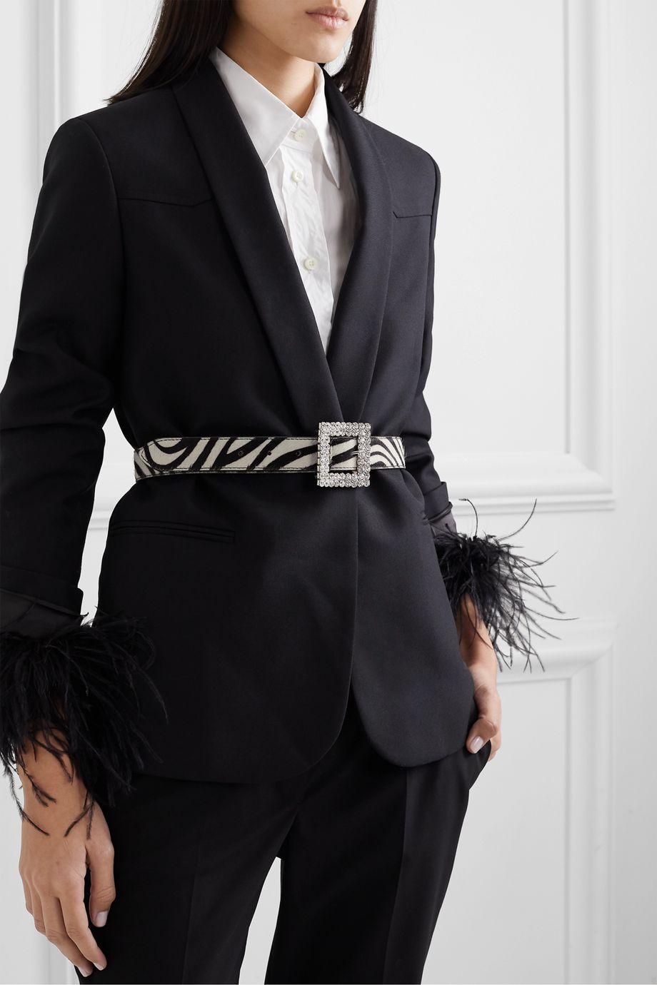 Black & Brown Crystal-embellished zebra-print calf hair belt