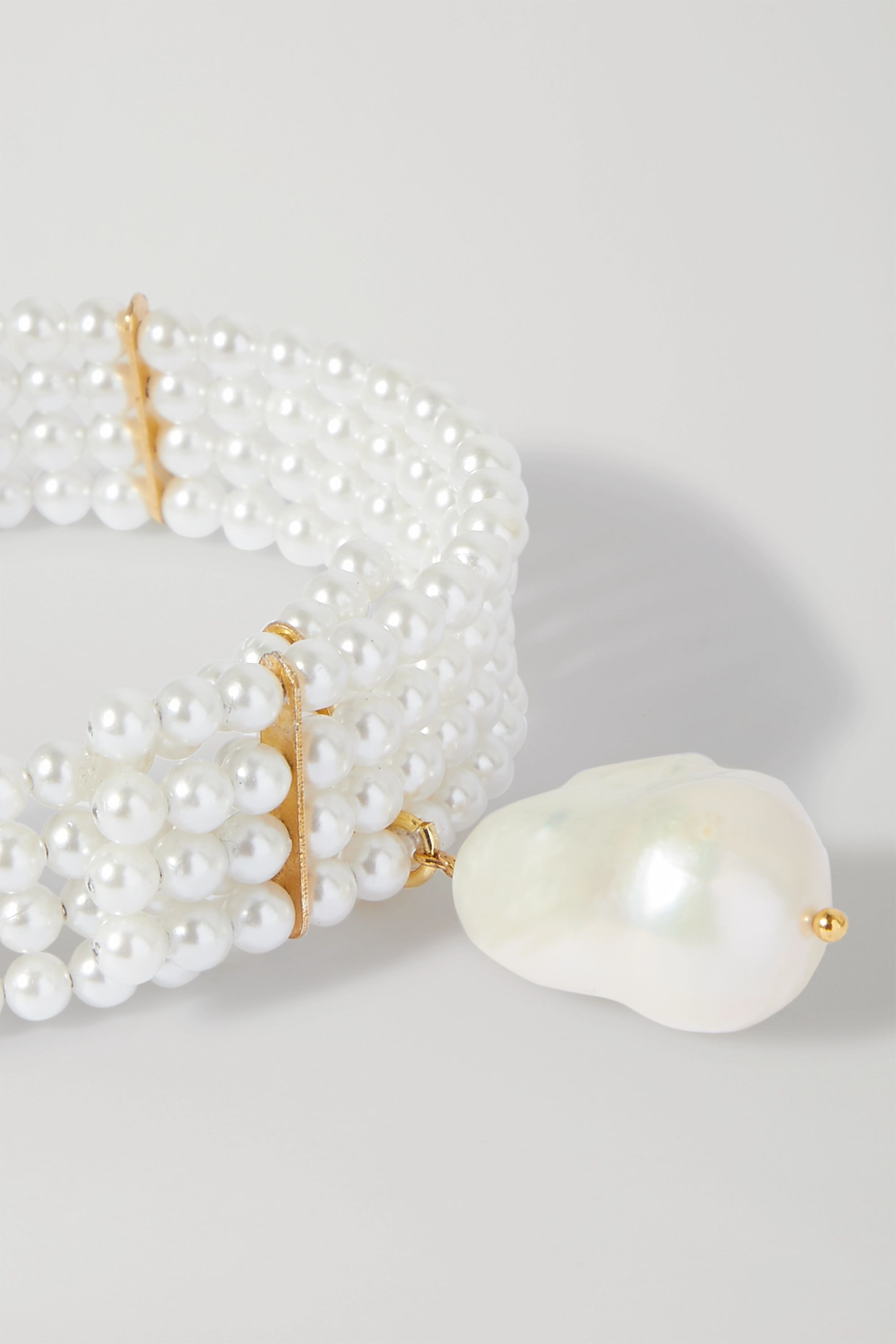 Timeless Pearly Gold-tone pearl and faux pearl bracelet