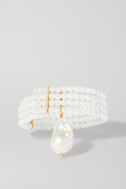 Gold-tone pearl and faux pearl bracelet