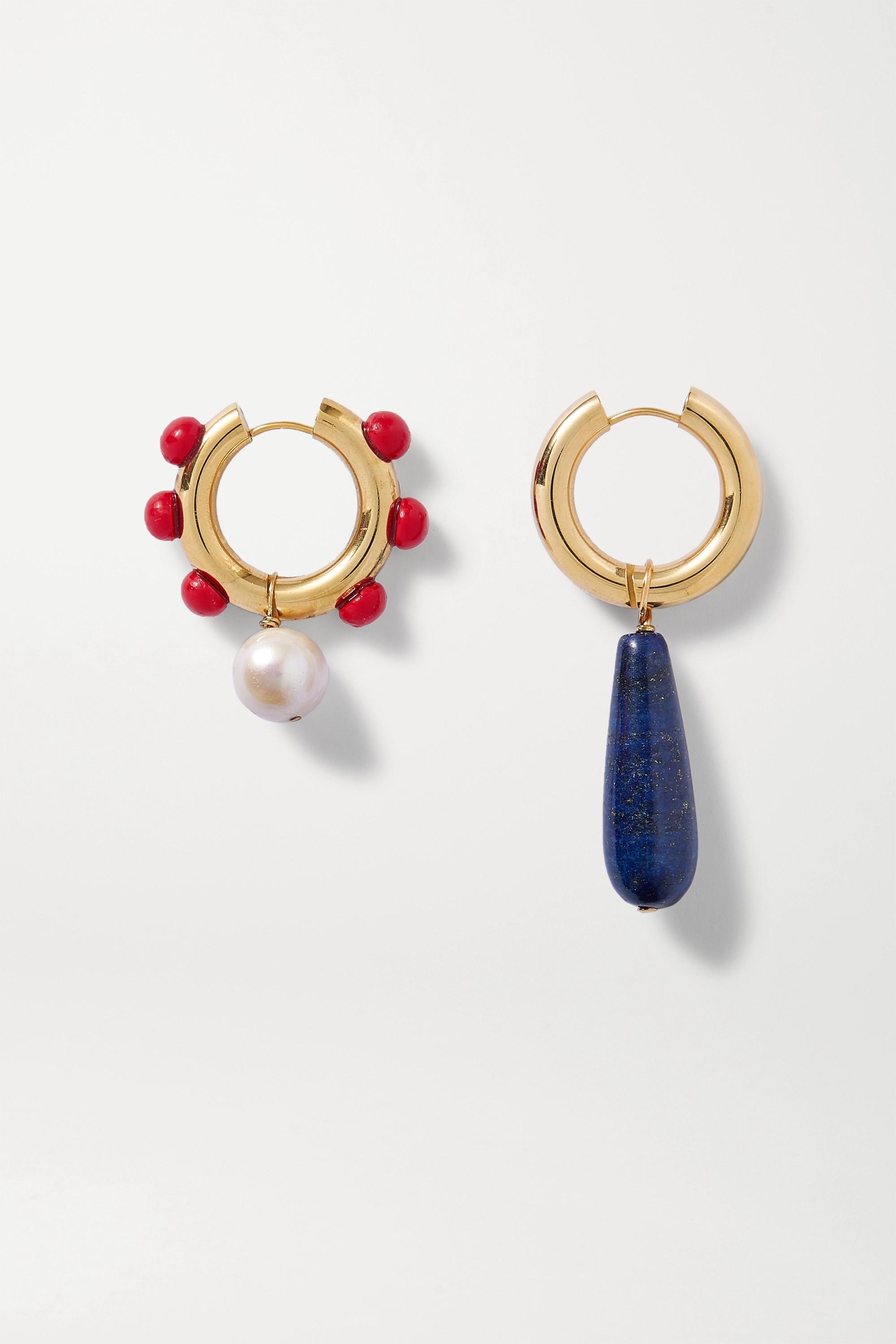 Timeless Pearly Gold-plated, lapis lazuli, pearl and glass earrings