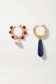 Gold-plated, lapis lazuli, pearl and glass earrings