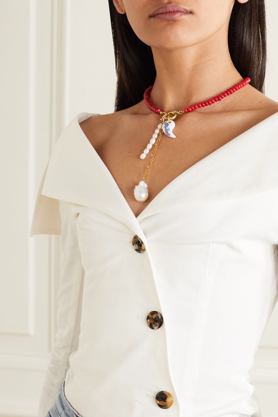 Timeless Pearly Gold-plated, faux coral, pearl and porcelain necklace