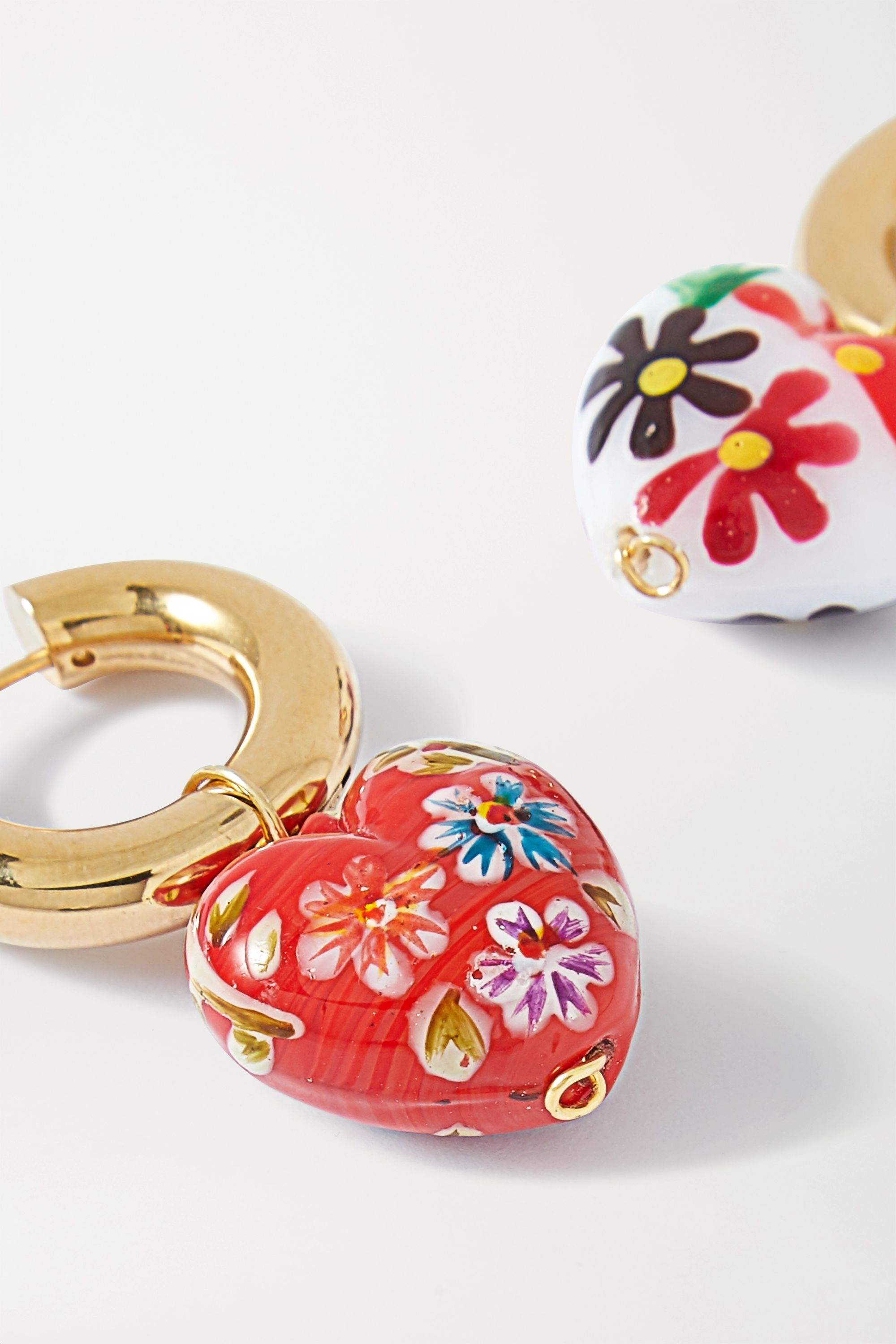 Timeless Pearly Gold-tone and enamel hoop earrings
