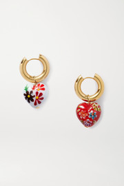 Gold-tone and enamel hoop earrings