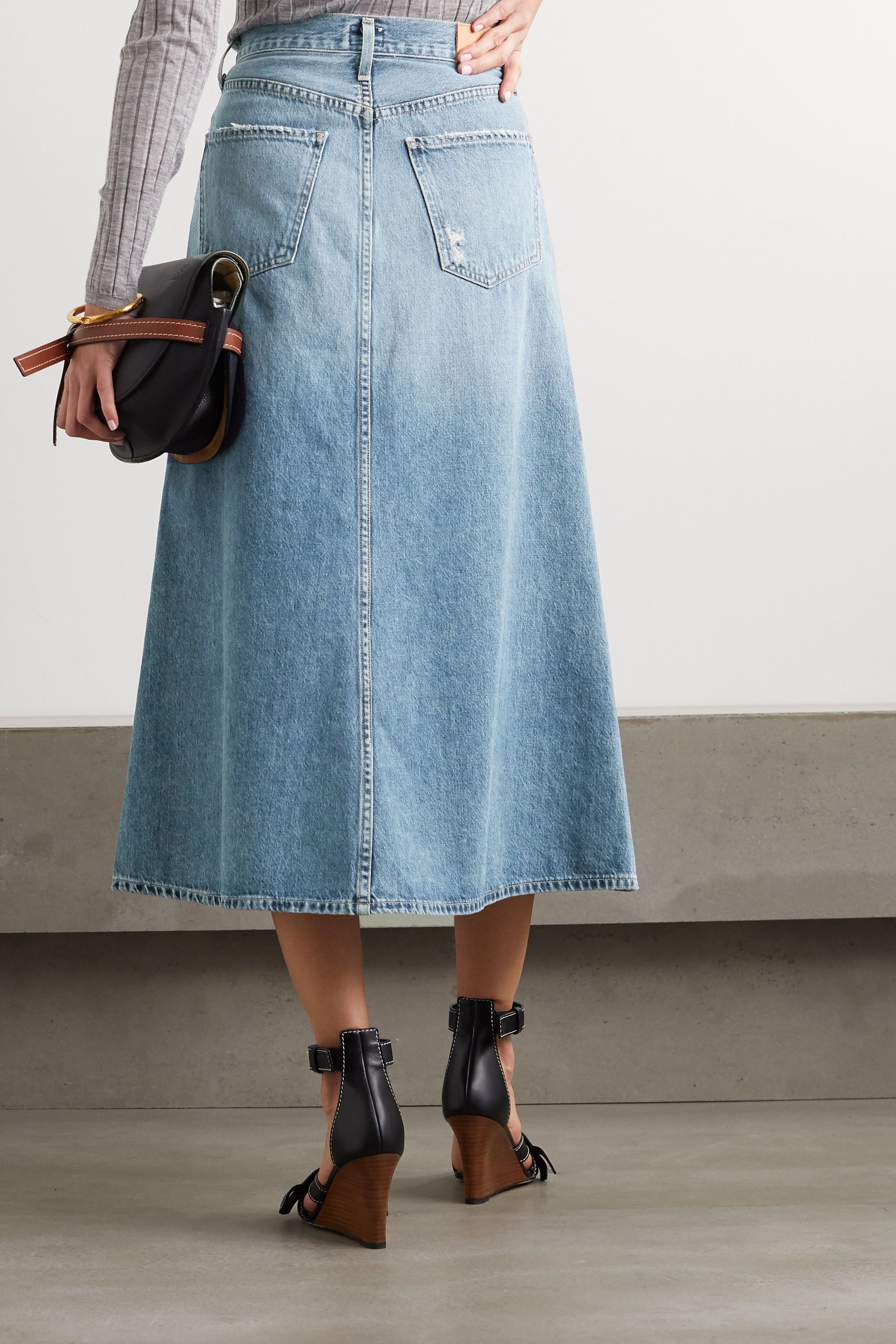 Citizens of Humanity Tessa organic denim midi skirt
