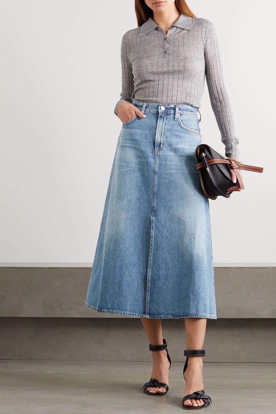 Citizens of Humanity Tessa organic denim midi skirt