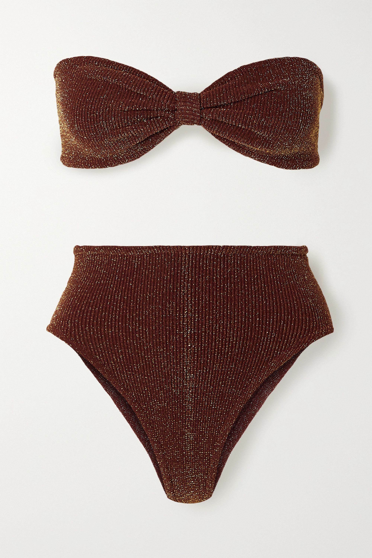 Hunza G Posey metallic seersucker bandeau bikini