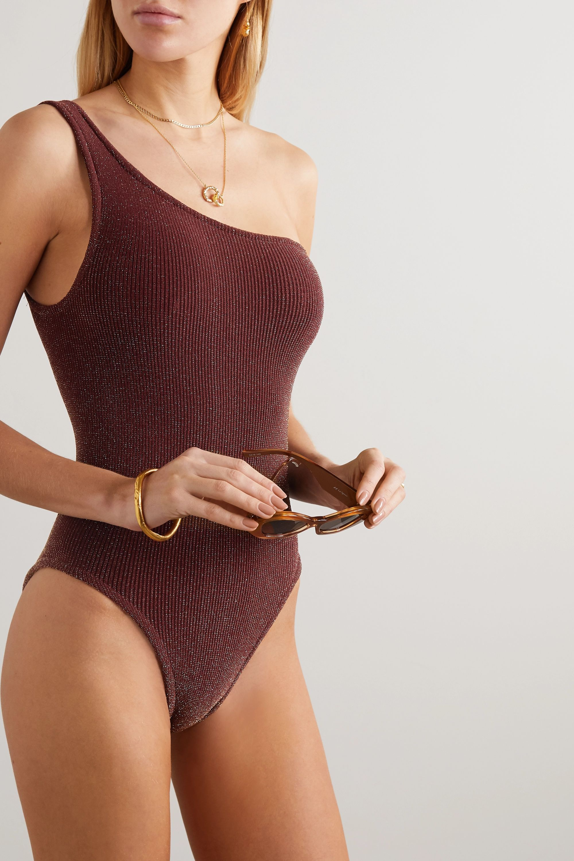 Hunza G Nancy one-shoulder metallic seersucker swimsuit