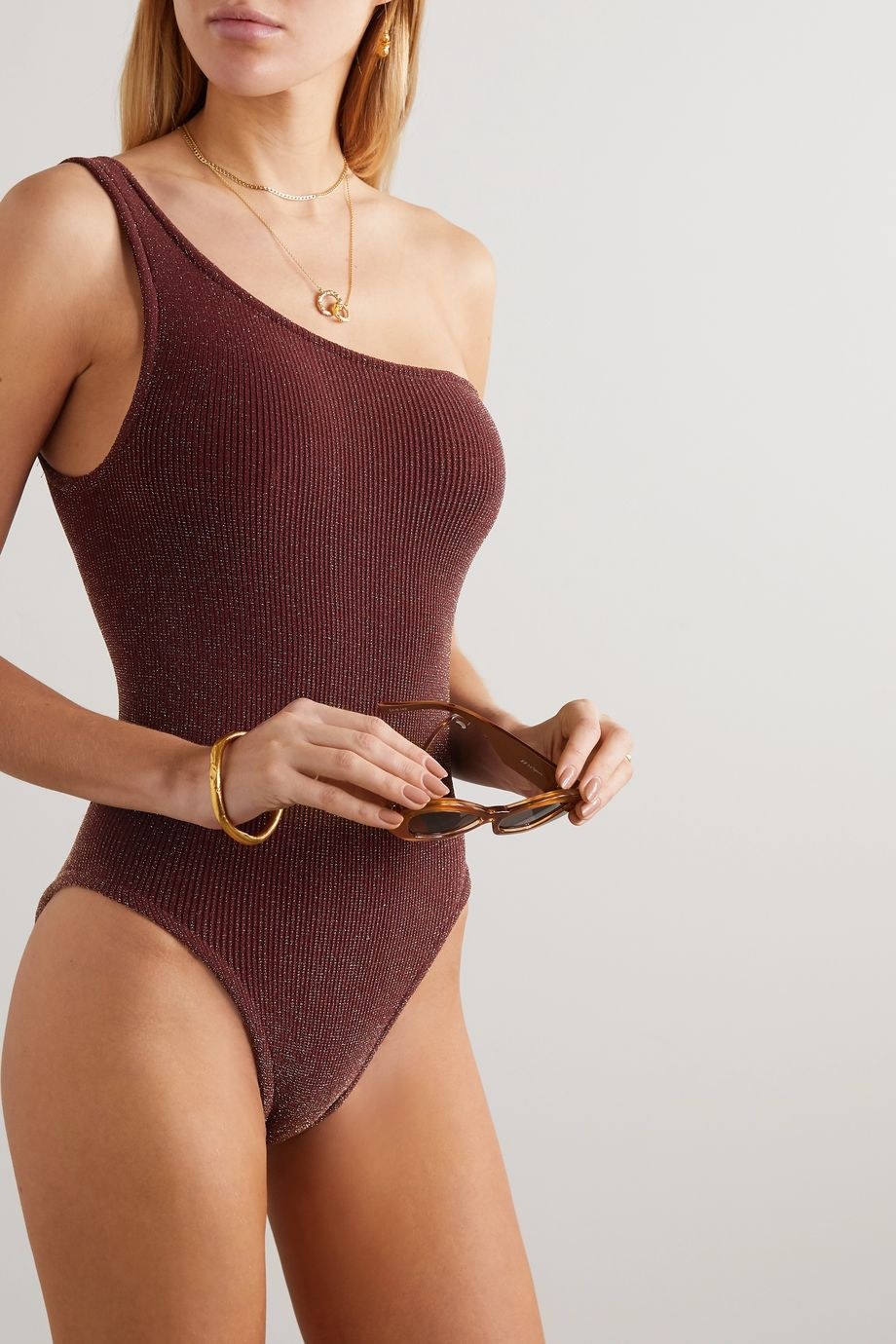 Hunza G Nancy one-shoulder metallic seersucker swimsuit