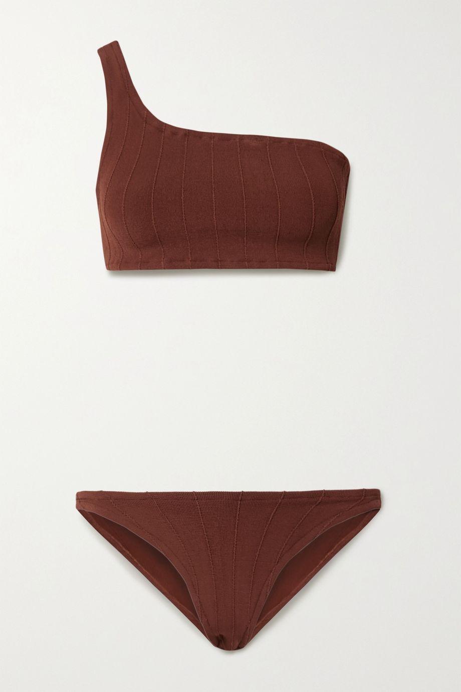 Hunza G Nancy one-shoulder ribbed bikini