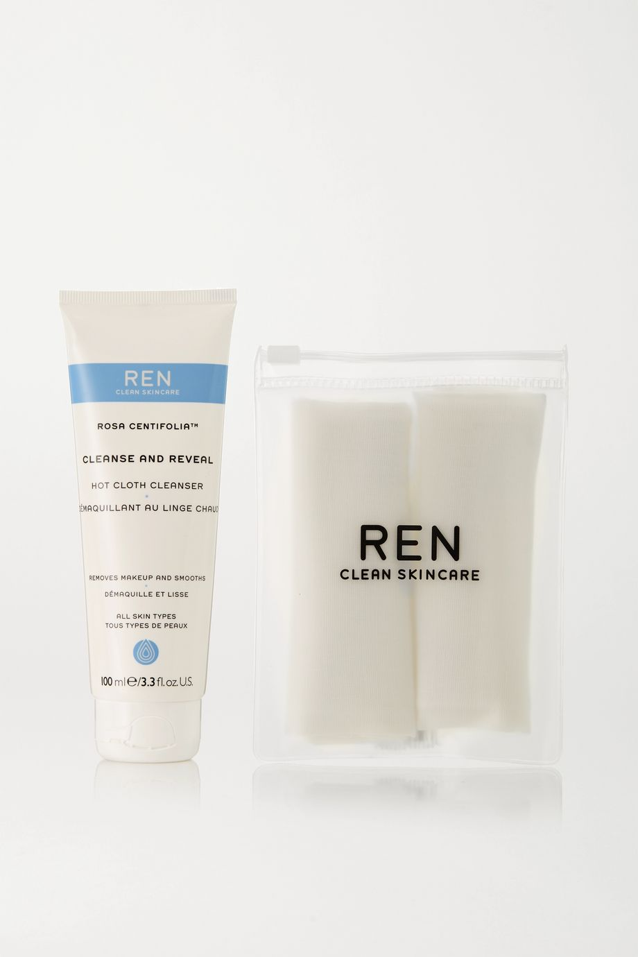 REN Clean Skincare Rosa Centifolia - Cleanse & Reveal Hot Cloth Cleanser Set, 100ml