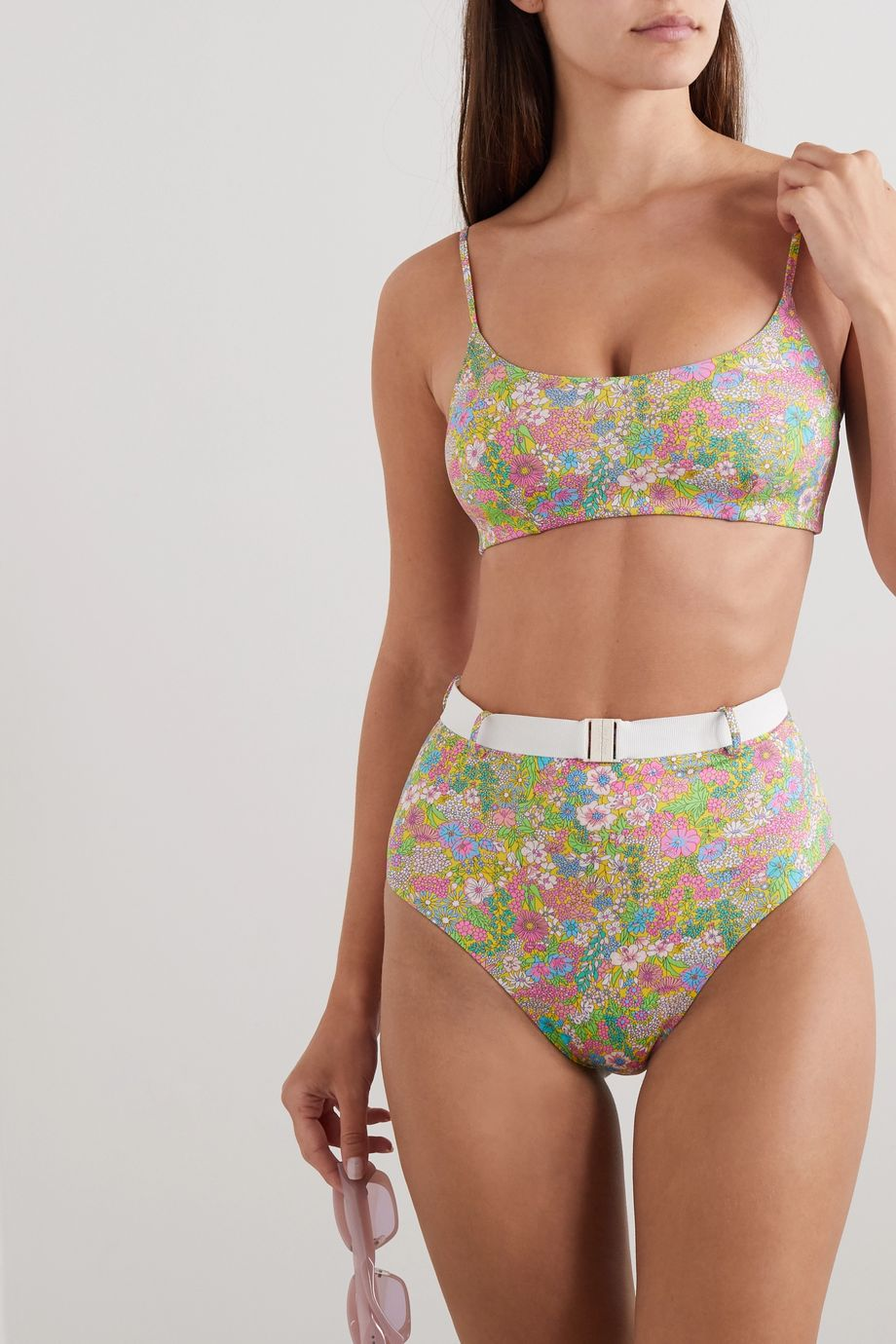 Les Girls Les Boys Belted floral-print bikini