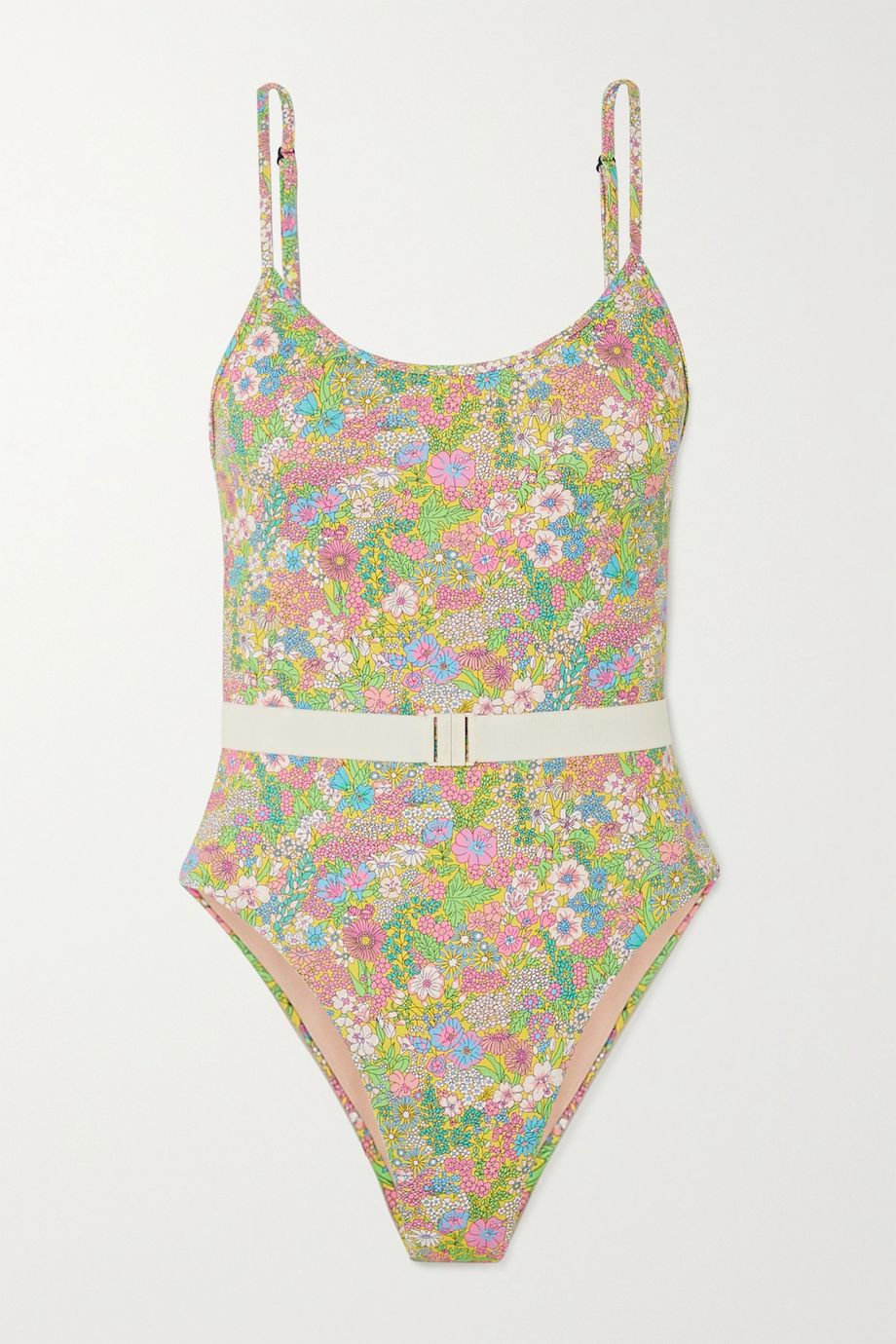 Les Girls Les Boys Belted floral-print swimsuit