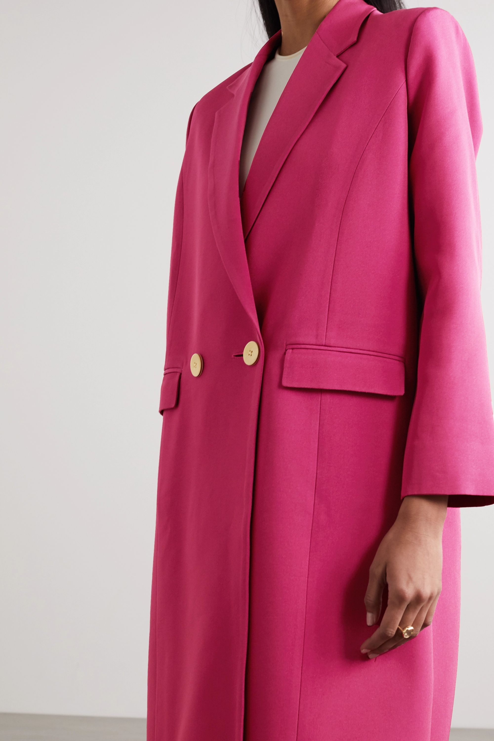 Bouguessa Double-breasted crepe coat